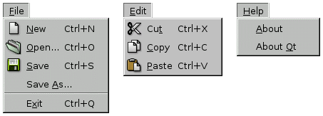 The Application example's menu system