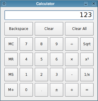 Screenshot of the Calculator example