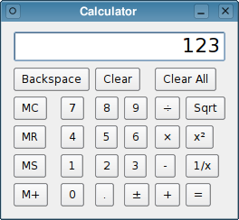 The Calculator example with default size policies and size hints