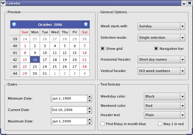 Qt Weekly Calendar : The calendar widget example shows use of qcalendarwidget