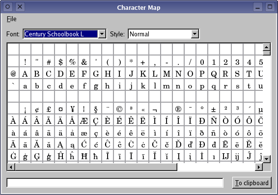 Qt 4.7: Character Map Example Character Map Symbols on