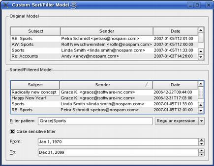 Screenshot of the Custom Sort/Filter Model Example