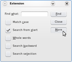 Screenshot of the Extension example
