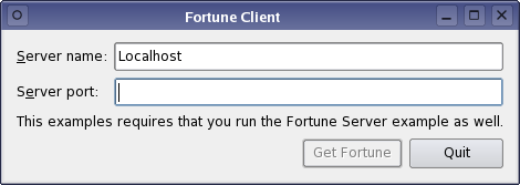 Screenshot of the Fortune Client example