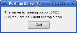Screenshot of the Fortune Server example