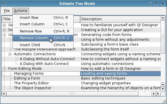 Qt 4 7: Editable Tree Model Example