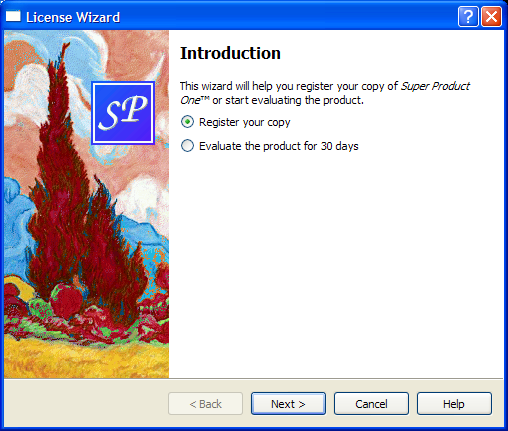 Screenshot of the License Wizard example