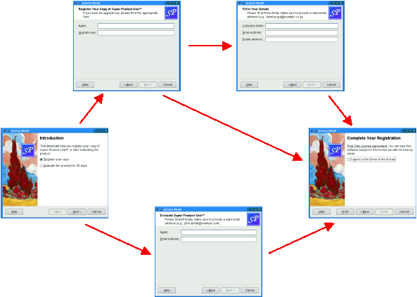 The License Wizard pages
