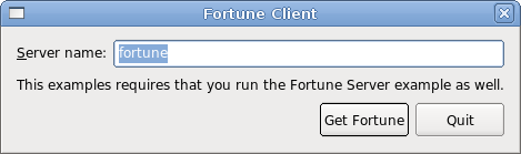 Screenshot of the Local Fortune Client example