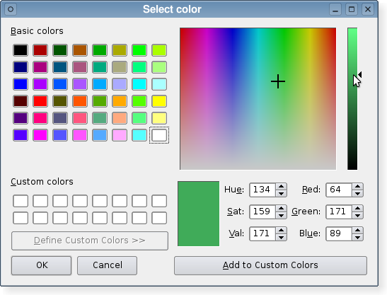 A color dialog in the Plastique widget style.
