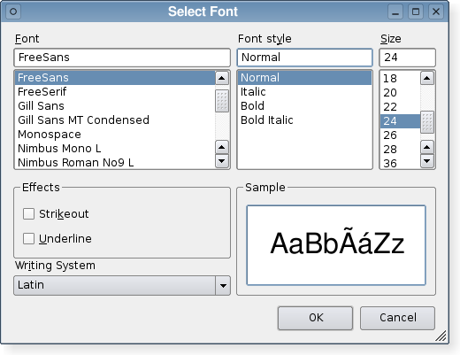 A font dialog in the Plastique widget style.