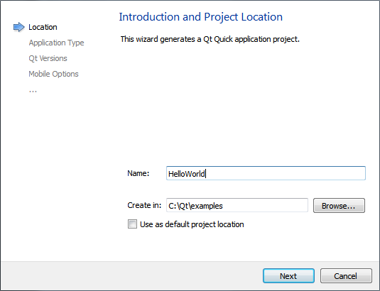 Qt Creator : Creating Qt Quick Projects