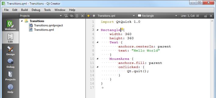 Qt Creator : Creating a Qt Quick Application