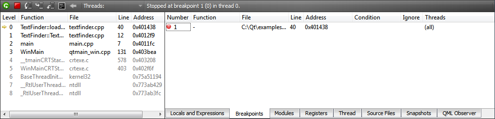 Qt Creator : Interacting with the Debugger