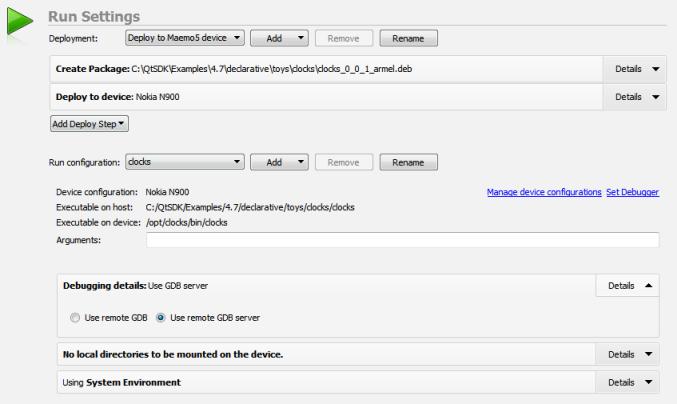 Qt Creator : Specifying Run Settings