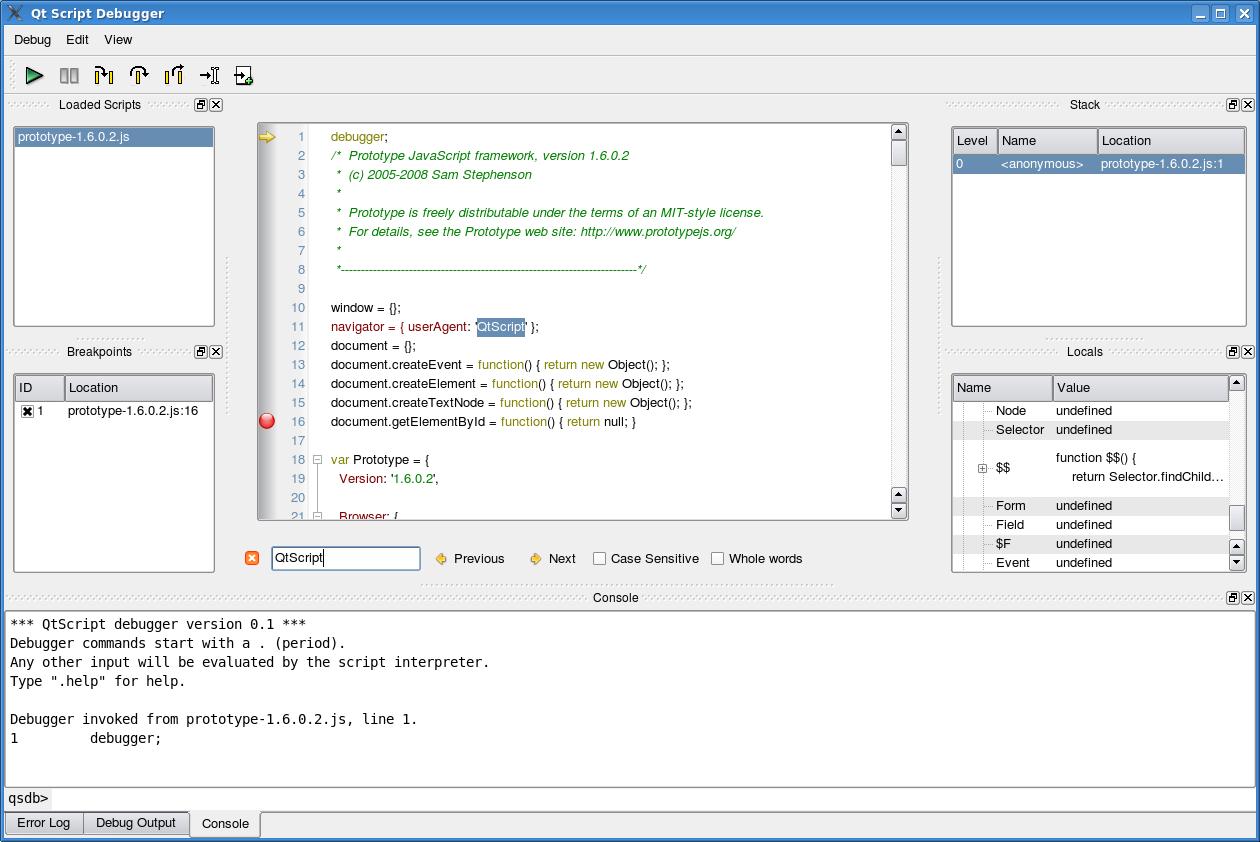 Running a script under the Qt Script debugger.
