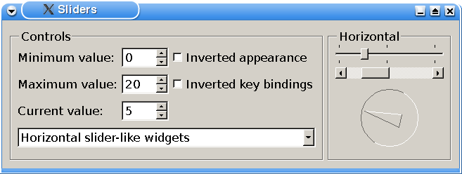 Screenshot of the Sliders example