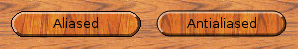 Norwegian wood buttons with and without antialiasing