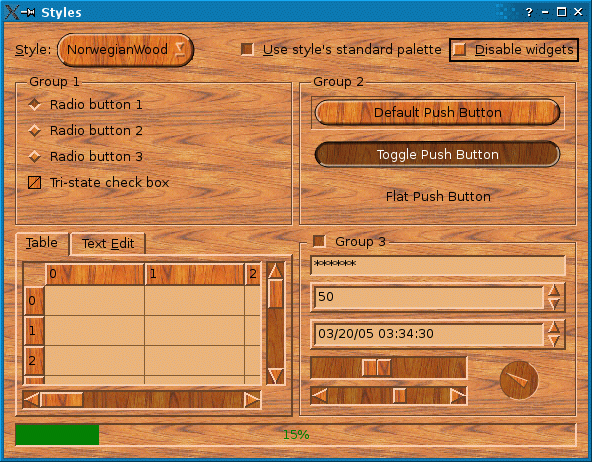 Screenshot of the Styles example