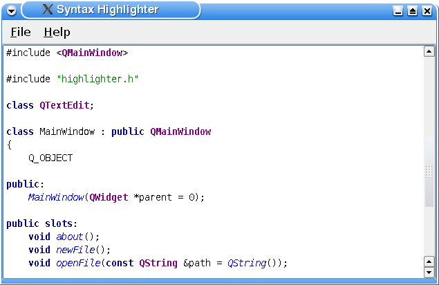 Qt 4 7: Syntax Highlighter Example