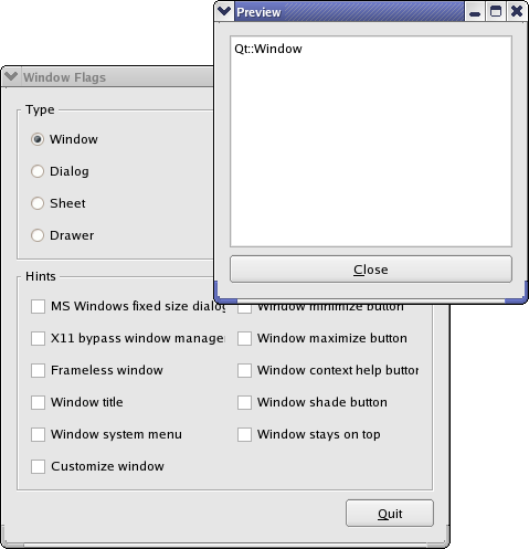 Screenshot of the Window Flags example